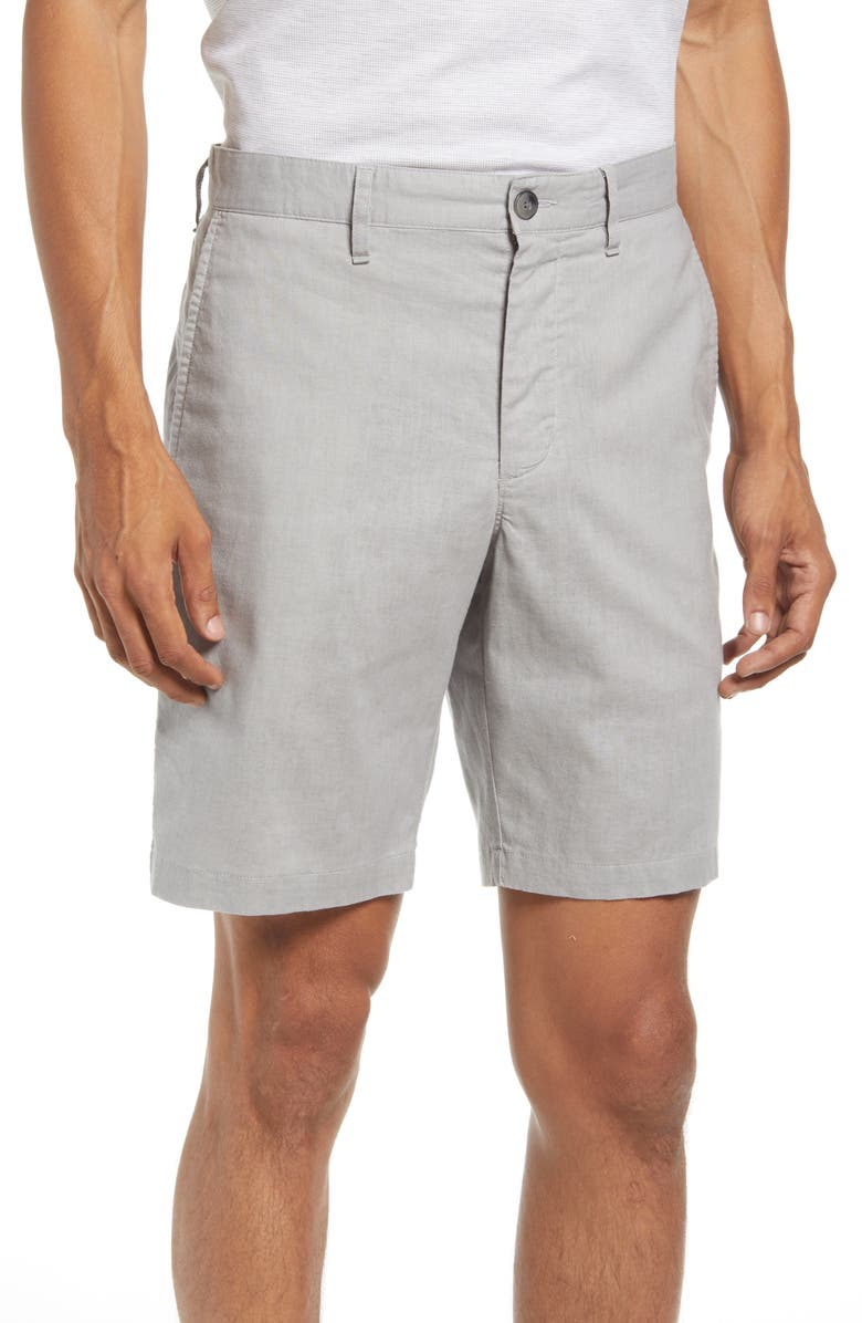 NORDSTROM Flat Front Stretch Shorts, Main, color, GREY CHATEAU- WHITE