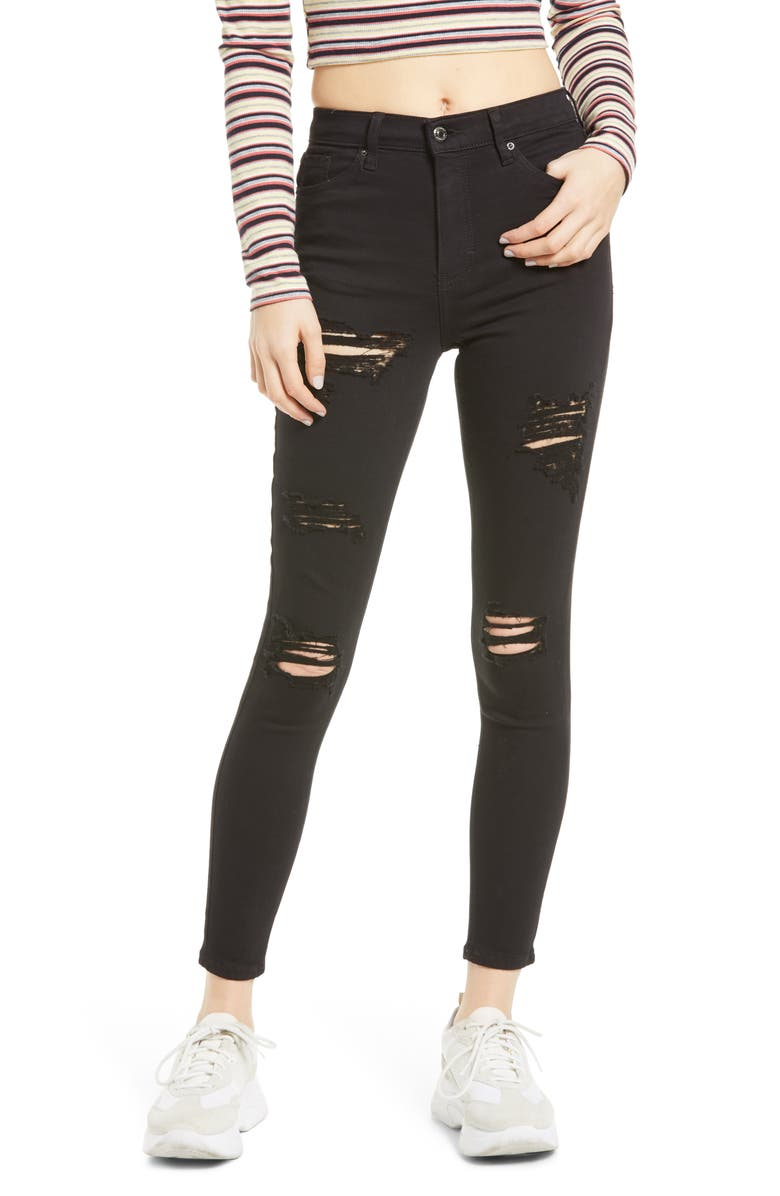 TOPSHOP Jamie High Waist Super Ripped Skinny Jeans, Main, color, BLACK