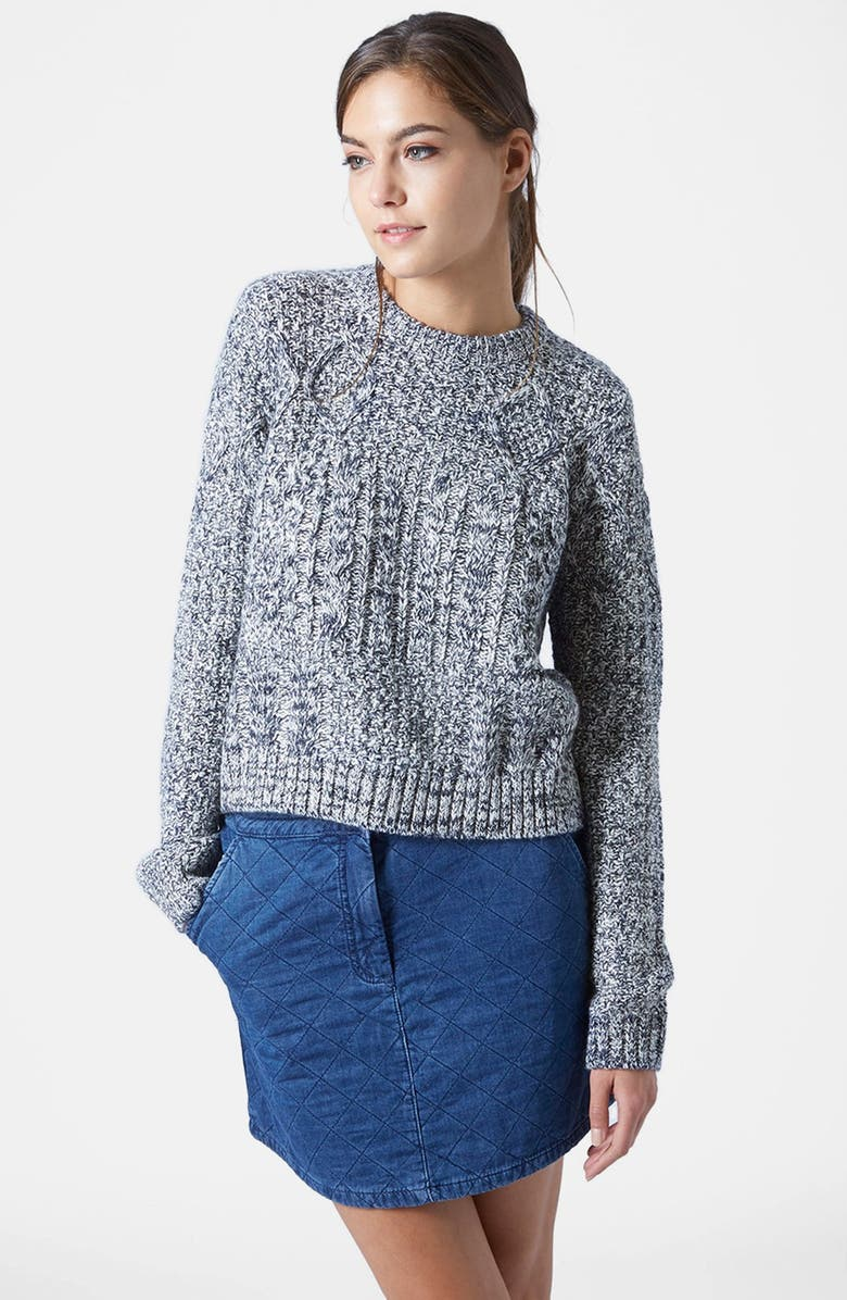 TOPSHOP Cable Slouchy Sweater, Main, color, Grey