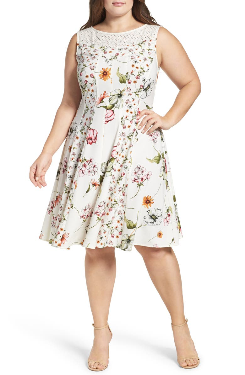 GABBY SKYE Floral Print Fit & Flare Dress, Main, color, 901