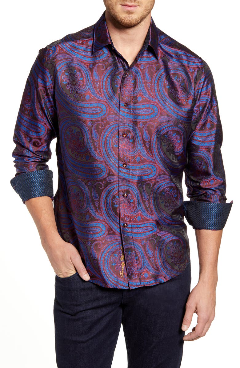 Robert Graham Paisley Park Regular Fit Silk Blend Button-Up Shirt |  Nordstrom