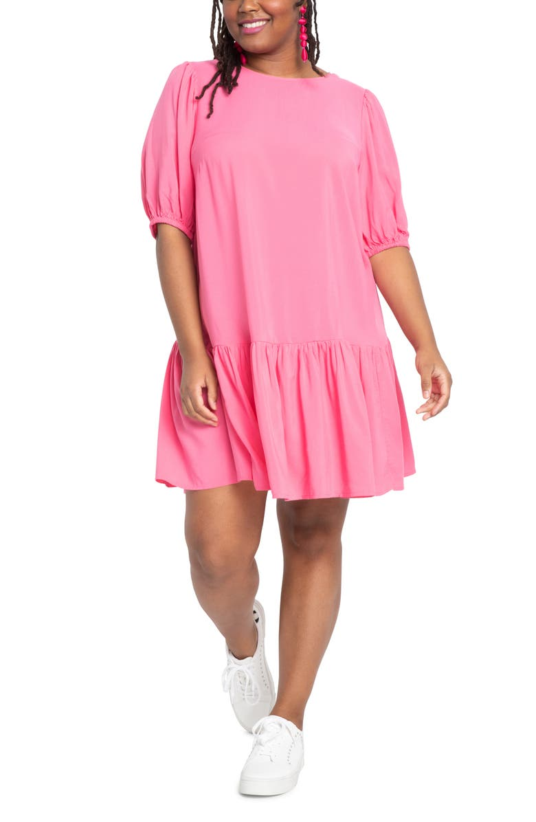 ELOQUII Puff Sleeve Tie Back Dress, Main, color, HOT PINK