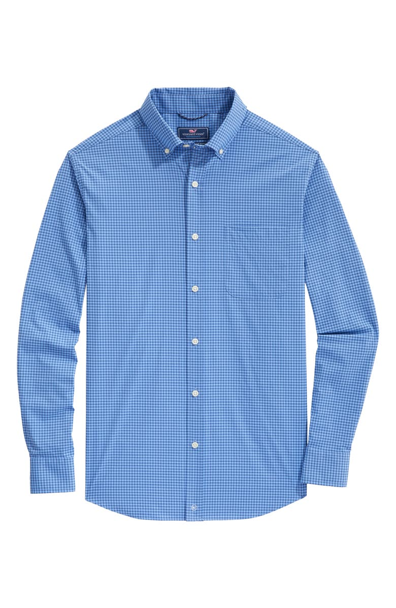 VINEYARD VINES On-The-Go Classic Fit Gingham Performance Button-Down Shirt, Main, color, MOONSHINE