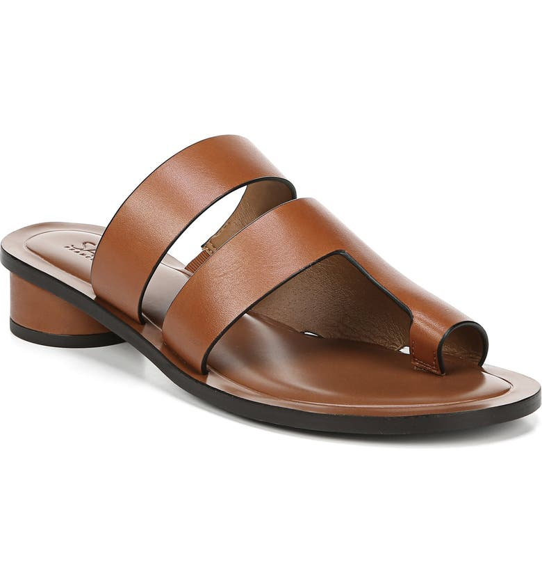SARTO BY FRANCO SARTO Trixie Slide Sandal, Main, color, BROWN VACHETTA LEATHER