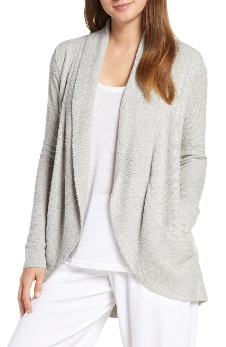 BAREFOOT DREAMS<SUP>®</SUP> CozyChic Lite<sup>®</sup> Circle Cardigan, Main, color, HE PEWTER/ PEARL