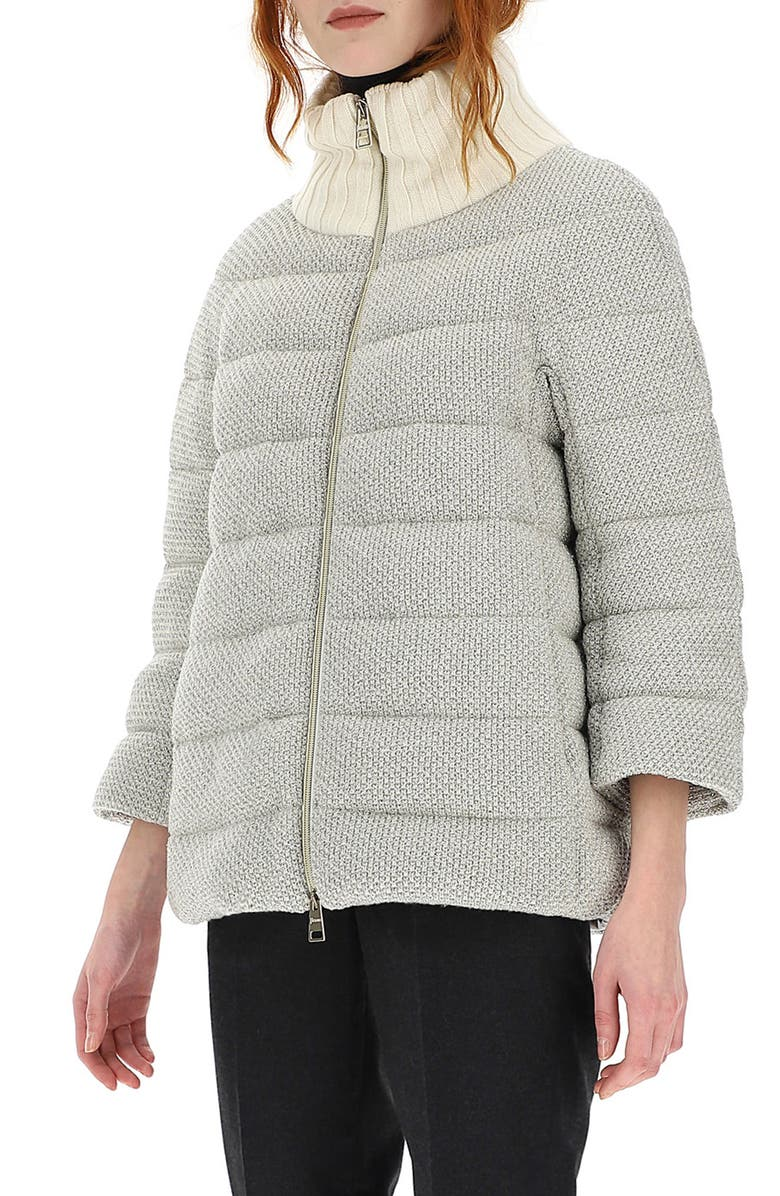 HERNO Metallic Knit Down Puffer Jacket, Main, color, SILVER