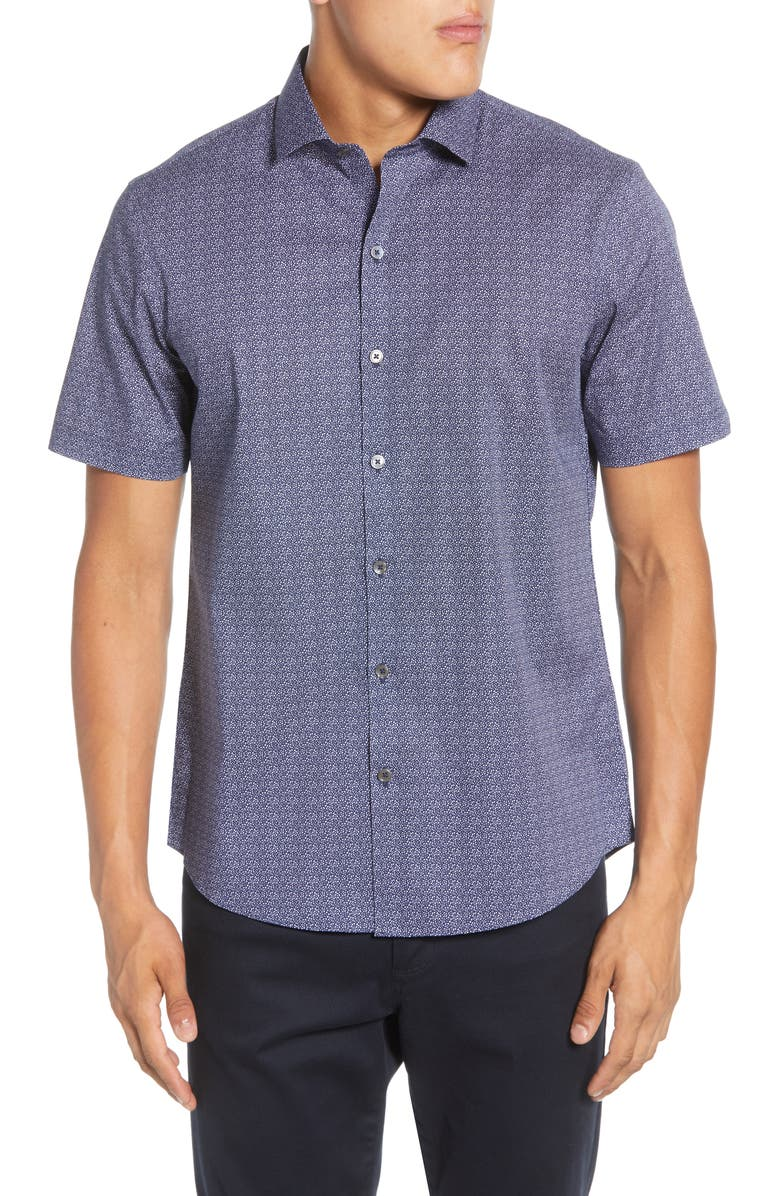 ZACHARY PRELL Papazis Regular Fit Short Sleeve Button-Up Stretch Cotton Shirt, Main, color, 410