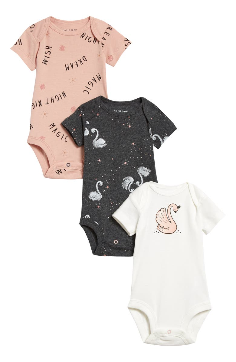 PETIT LEM 3-Pack Fitted Pajama Bodysuits, Main, color, OFF WHITE
