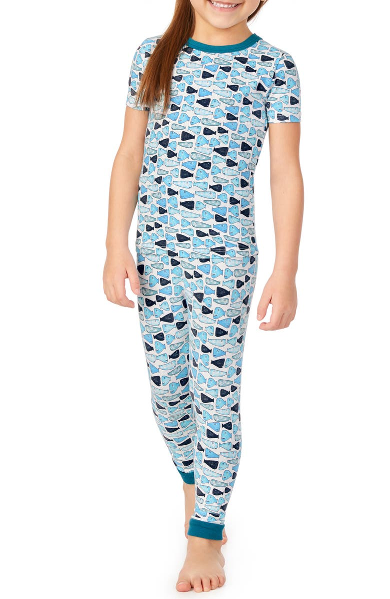 BEDHEAD PAJAMAS Fitted Two-Piece Pajamas & Book Set, Main, color, SCHOOL OF FISH