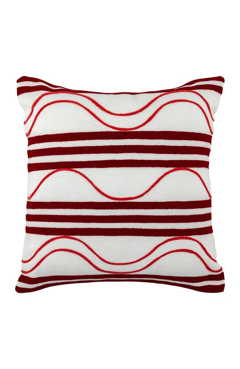 """DIVINE HOME Embroidered Waves Outdoor Pillow - 17"""" x 17"""" - Red/Pink, Main, color, RED / PINK"""