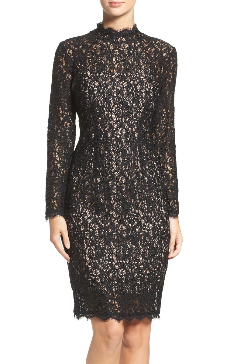 ADRIANNA PAPELL Corded Lace Sheath Dress, Main, color, 003