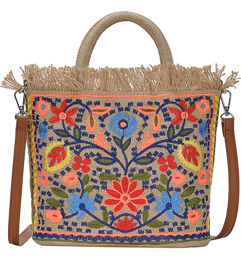 ANTIK KRAFT Embroidered Straw Tote, Main, color, 200