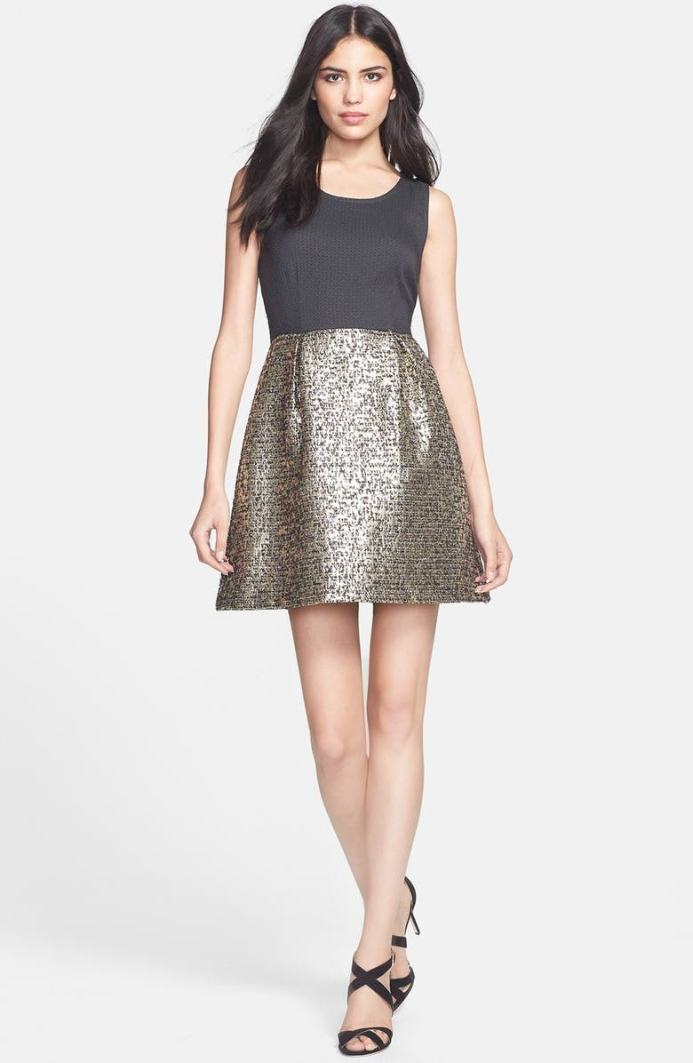 COLLECTIVE CONCEPTS Brocade Fit & Flare Dress, Main, color, BLACK/ GOLD