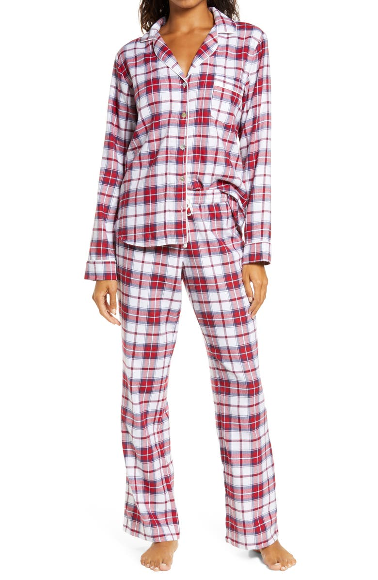 UGG<SUP>®</SUP> Raven Flannel Pajamas, Main, color, WHITE / RED PLAID