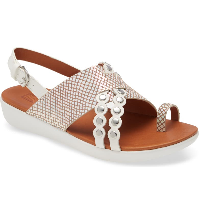 FITFLOP Scallop Embellished Sandal, Main, color, BRIGHT WHITE LEATHER
