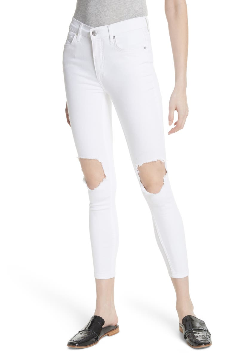 FREE PEOPLE We the Free by Free People High Waist Busted Knee Skinny Jeans, Main, color, 100