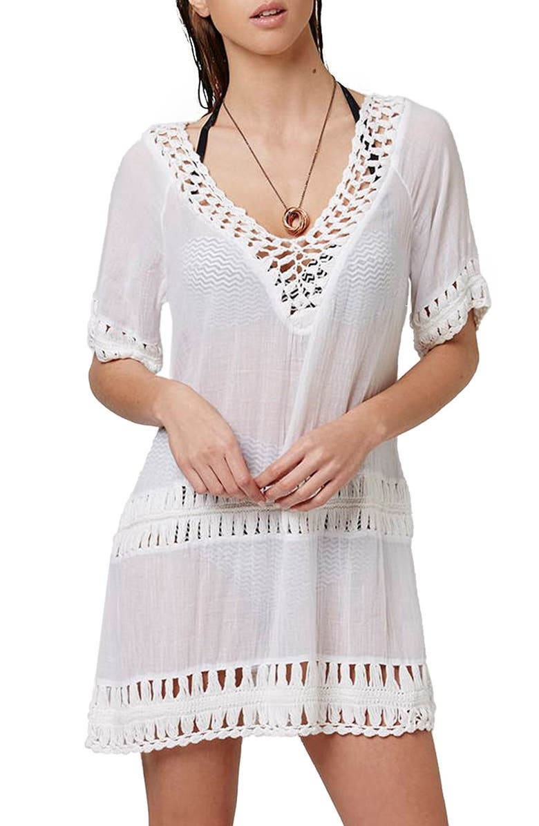 TOPSHOP Crochet Inset Cover-Up Caftan, Main, color, WHITE