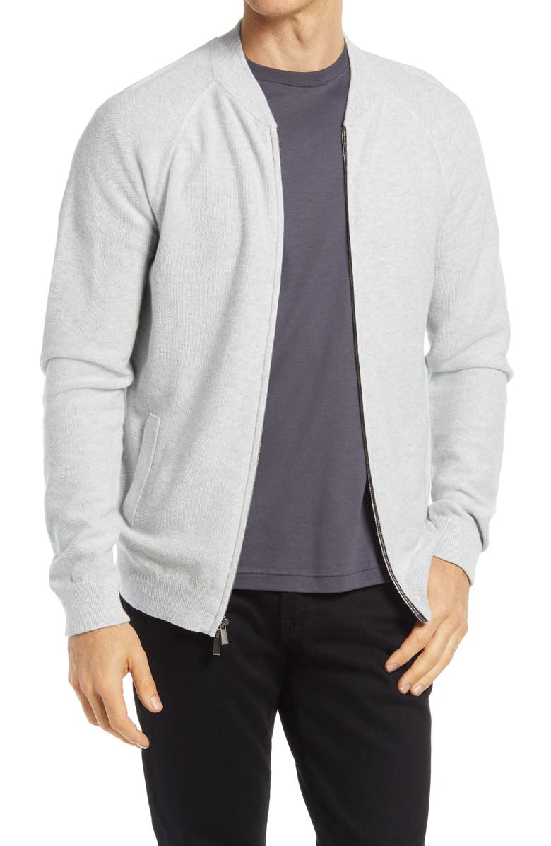 NORDSTROM Textured Zip Front Cotton & Cashmere Cardigan, Main, color, LIGHT GREY HEATHER