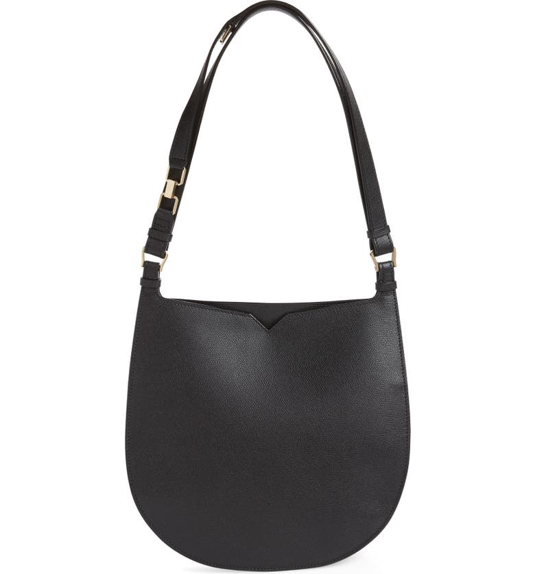 VALEXTRA Medium Weekend Leather Hobo, Main, color, 006