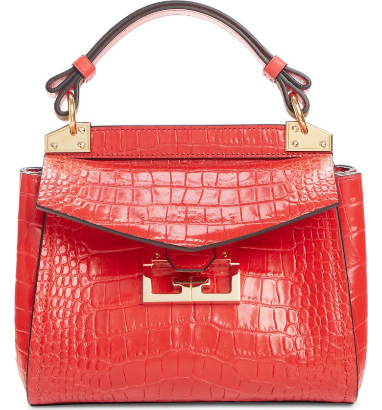 GIVENCHY Mini Mystic Croc Embossed Leather Satchel, Main, color, 600