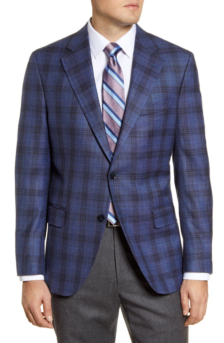 PETER MILLAR Classic Fit Plaid Stretch Wool Blend Sport Coat, Main, color, 400
