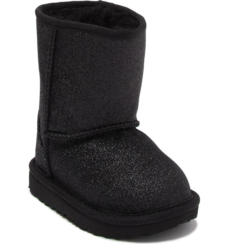 UGG Classic Short II Genuine Shearling Lined Glitter Boot, Main, color, BLK