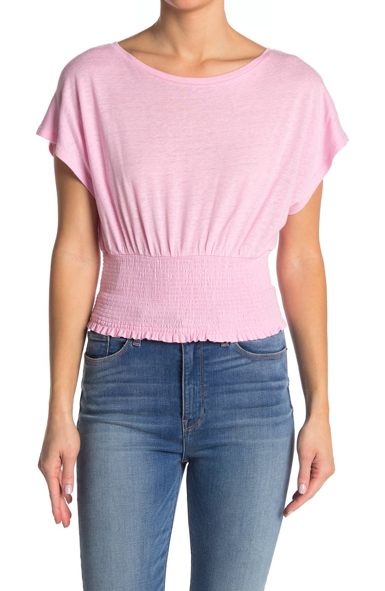 BCBGMAXAZRIA Smocked Knit Top, Main, color, PINK MIST