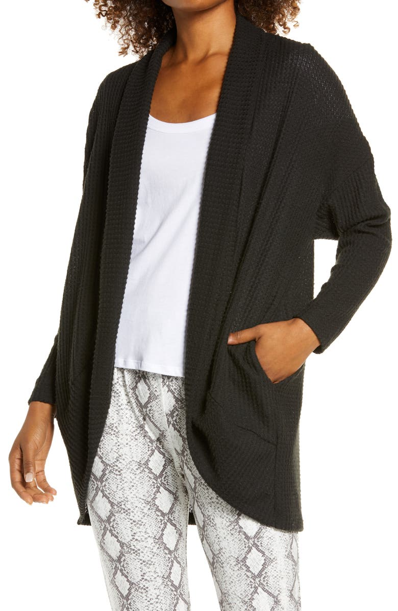 SOCIALITE Cocoon Waffle Knit Cardigan, Main, color, BLACK