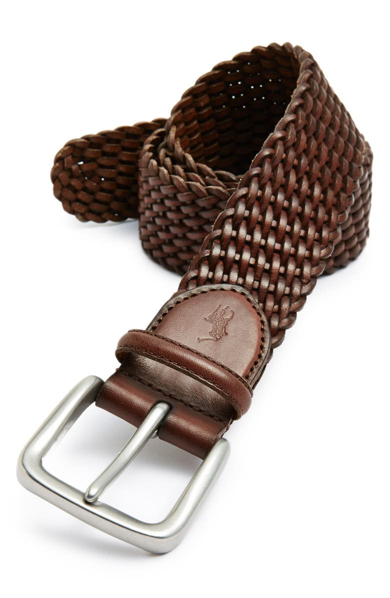POLO RALPH LAUREN Braided Leather Belt, Main, color, BROWN
