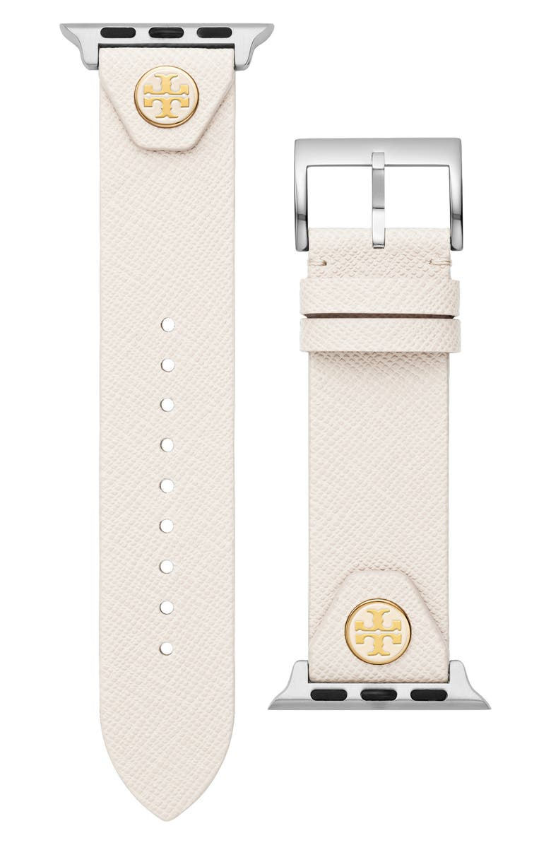 TORY BURCH The Studs Leather Apple Watch<sup>®</sup> Strap, Main, color, IVORY