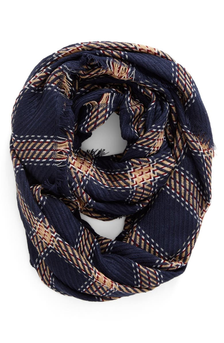 BP. Plaid Knit Infinity Scarf, Main, color, NAVY MULTI