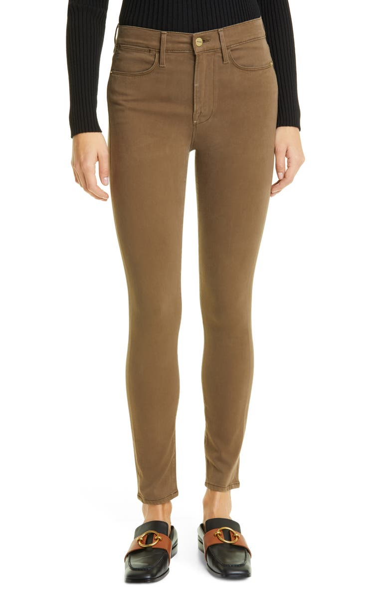 FRAME Le High Skinny Sateen Jeans, Main, color, WASHED ARMY