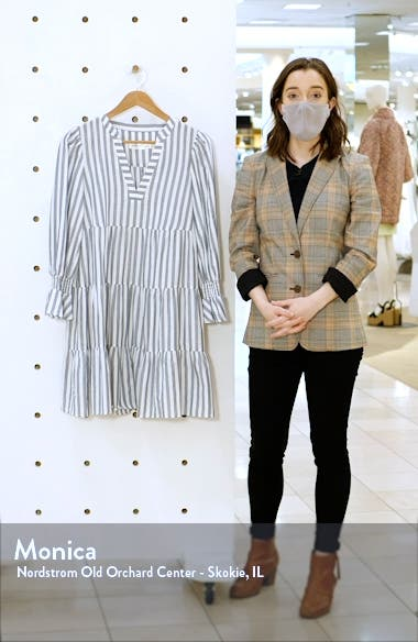 Stripe Tiered Long Sleeve Cotton Dress, sales video thumbnail