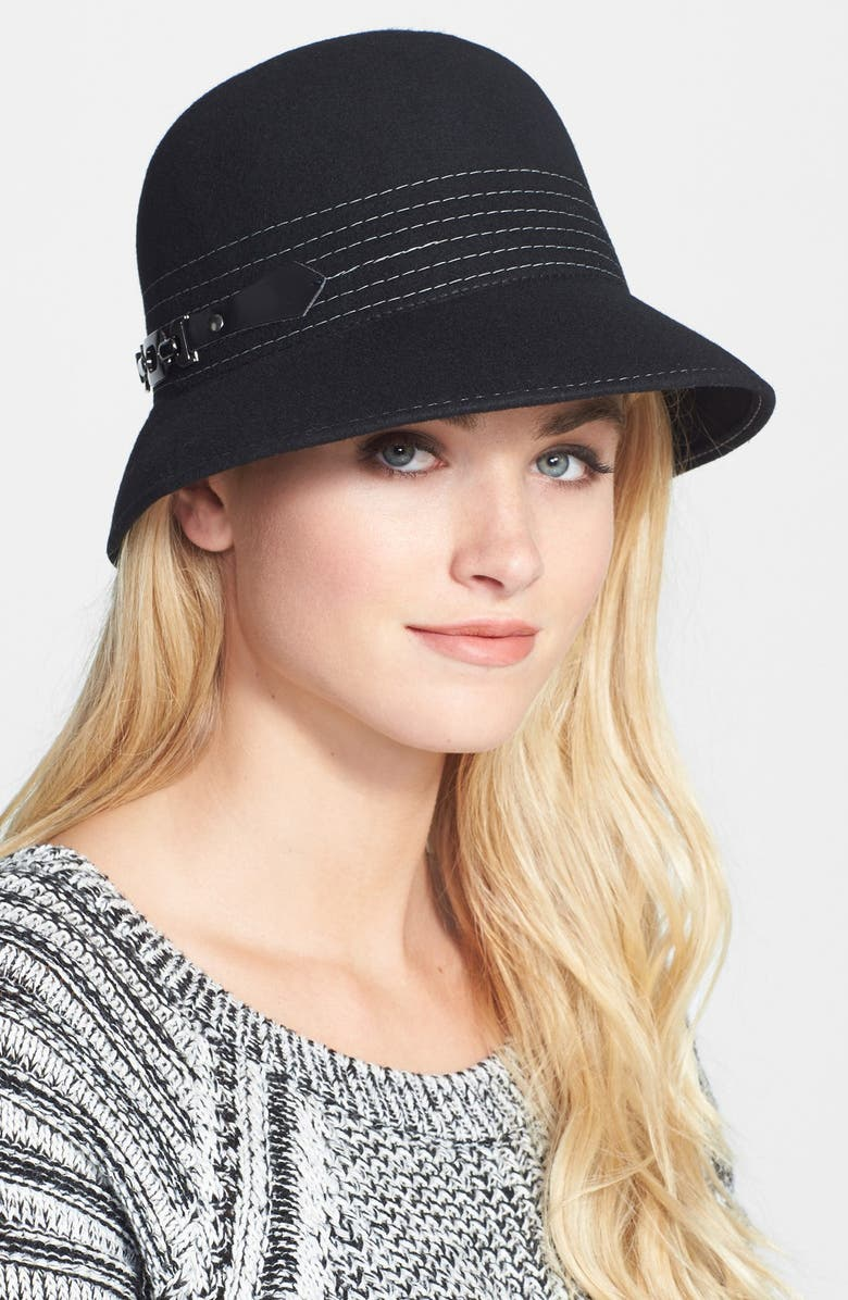 NORDSTROM Wool Cloche, Main, color, Black