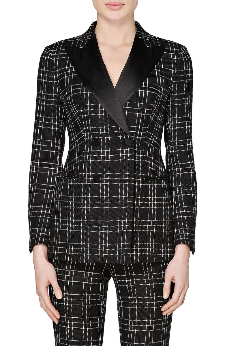 SUISTUDIO Cameron Double Breasted Check Wool Suit Jacket, Main, color, 001