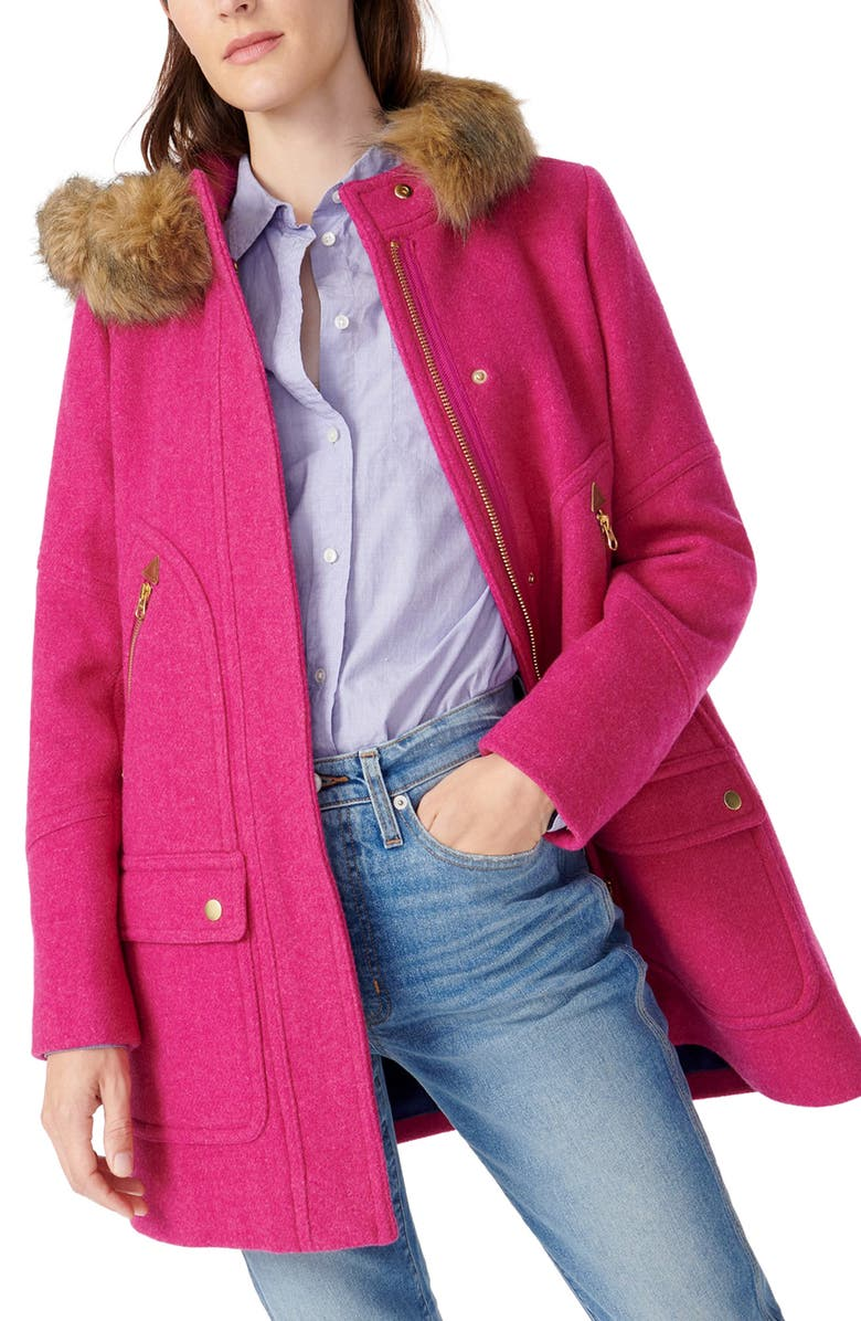 J.CREW Chateau Stadium Cloth Parka, Main, color, WOOL HEATHER WILD BERRY