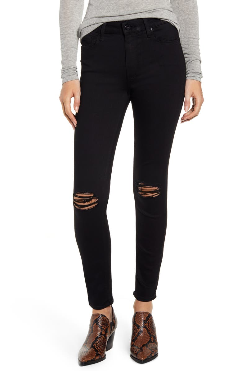 PAIGE Transcend - Hoxton Ripped High Waist Ankle Skinny Jeans, Main, color, 001