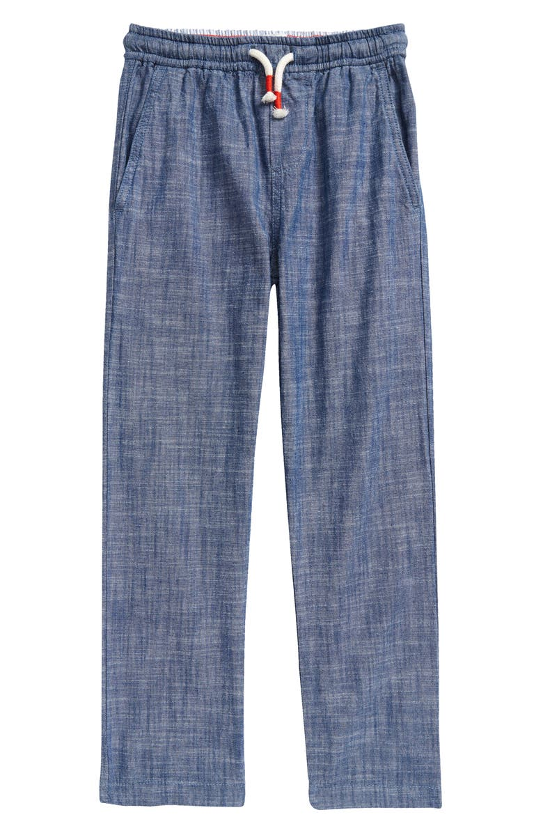 MINI BODEN Kids' Smart Chambray Pull-On Pants, Main, color, CHAMBRAY BLUE