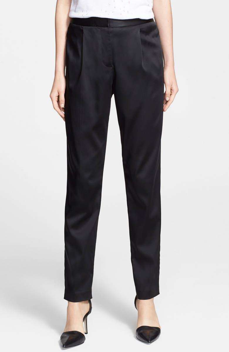 ALEXANDERWANG.T T by Alexander Wang Stretch Satin Trousers, Main, color, 001