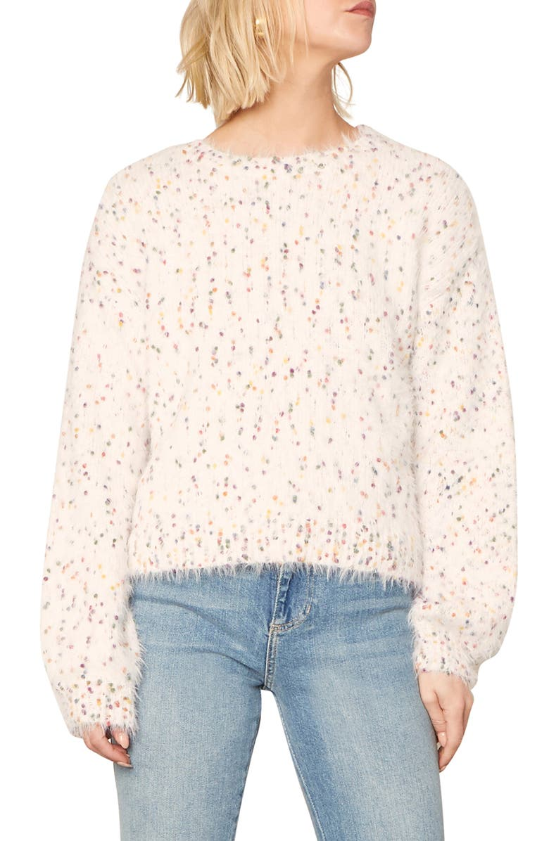 CUPCAKES AND CASHMERE Whitney Confetti Fuzzy Pullover, Main, color, 100