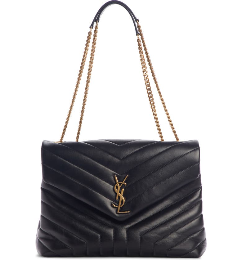 SAINT LAURENT Medium Loulou Matelassé Leather Shoulder Bag, Main, color, NOIR