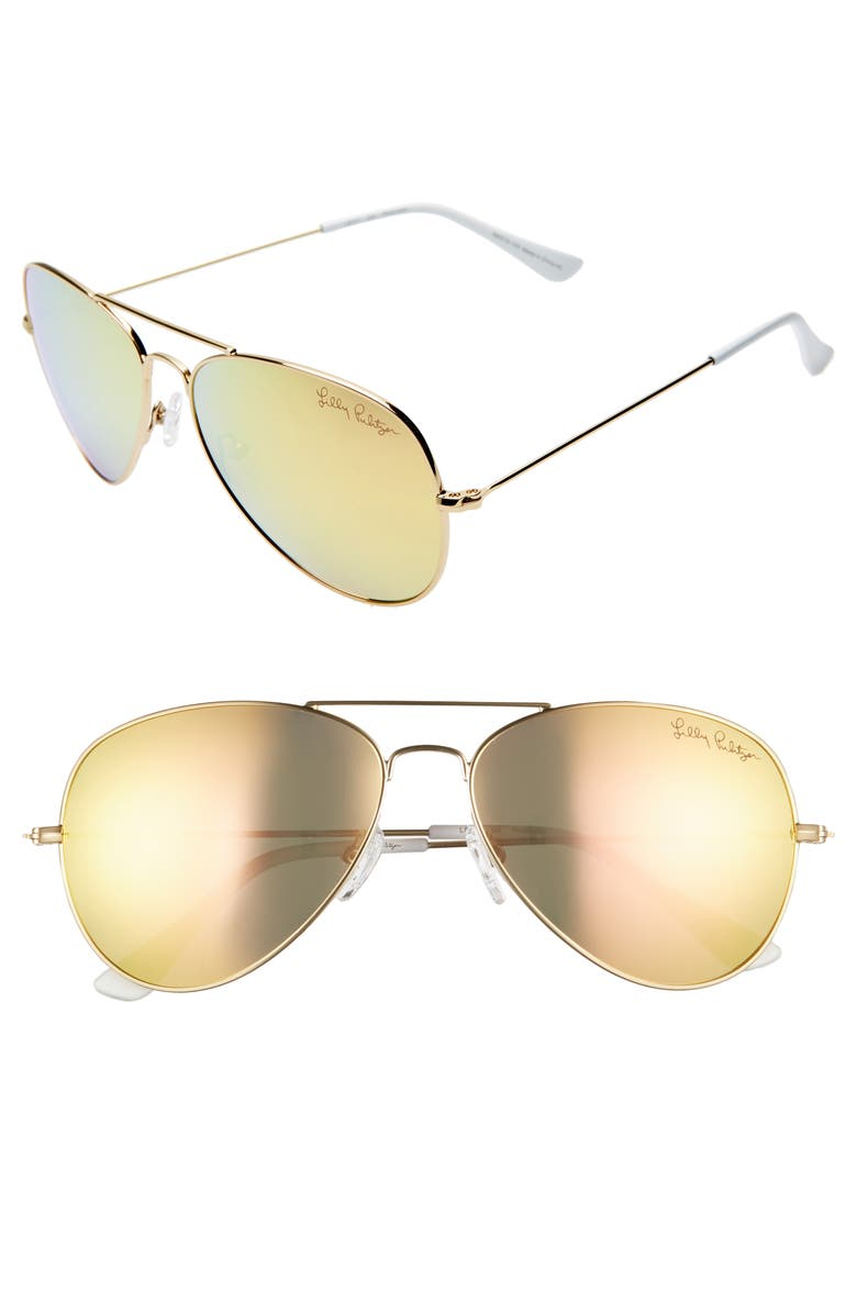LILLY PULITZER<SUP>®</SUP> Lexy 59mm Polarized Aviator Sunglasses, Main, color, SHINY GOLD/ GOLD MIRROR