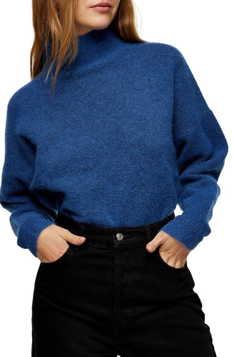 TOPSHOP Textured Funnel Neck Sweater, Main, color, BLUE