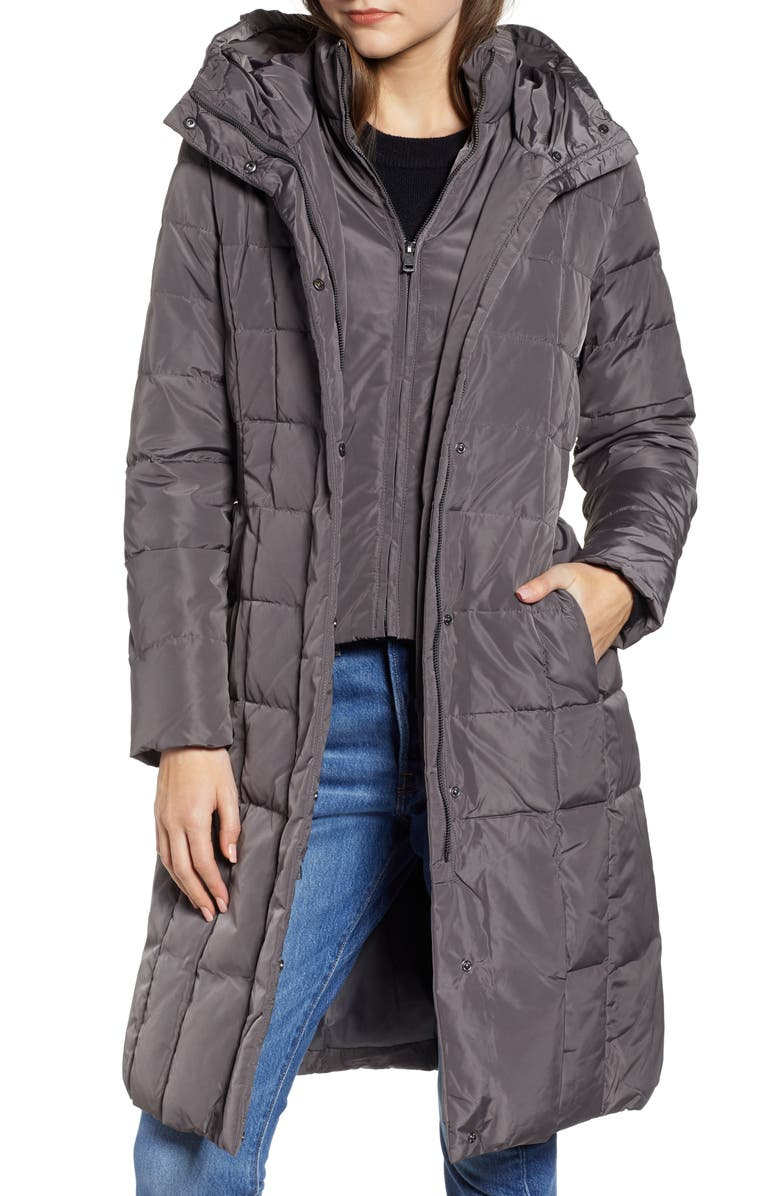 COLE HAAN SIGNATURE Cole Haan Bib Insert Down & Feather Fill Coat, Main, color, CARBON