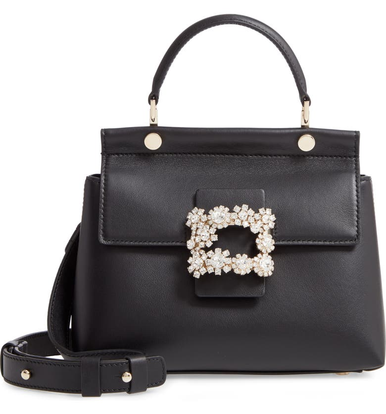 ROGER VIVIER Strass Flower Buckle Calfskin Top Handle Satchel, Main, color, NERO