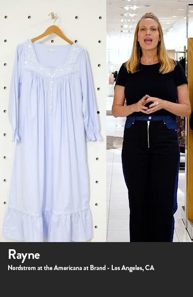Long Sleeve Cotton Flannel Nightgown, sales video thumbnail