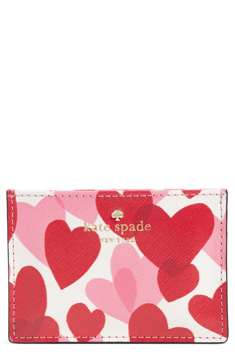 KATE SPADE NEW YORK yours truly faux leather card case, Main, color, 100
