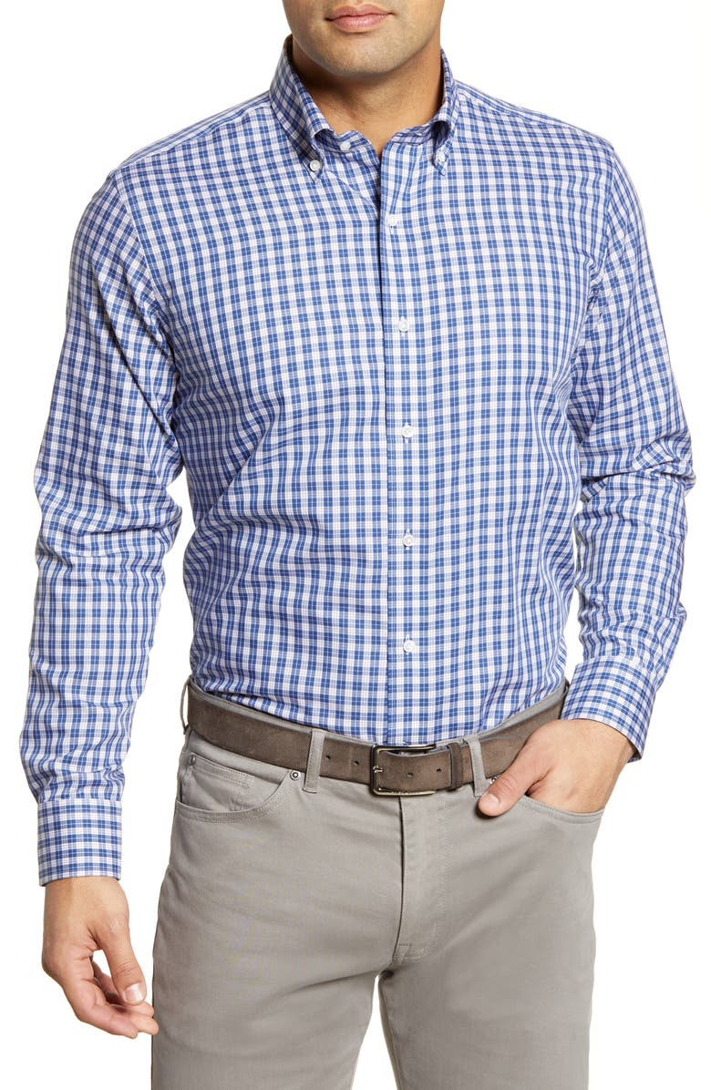 PETER MILLAR Tides Regular Fit Tattersall Check Button-Down Shirt, Main, color, 400