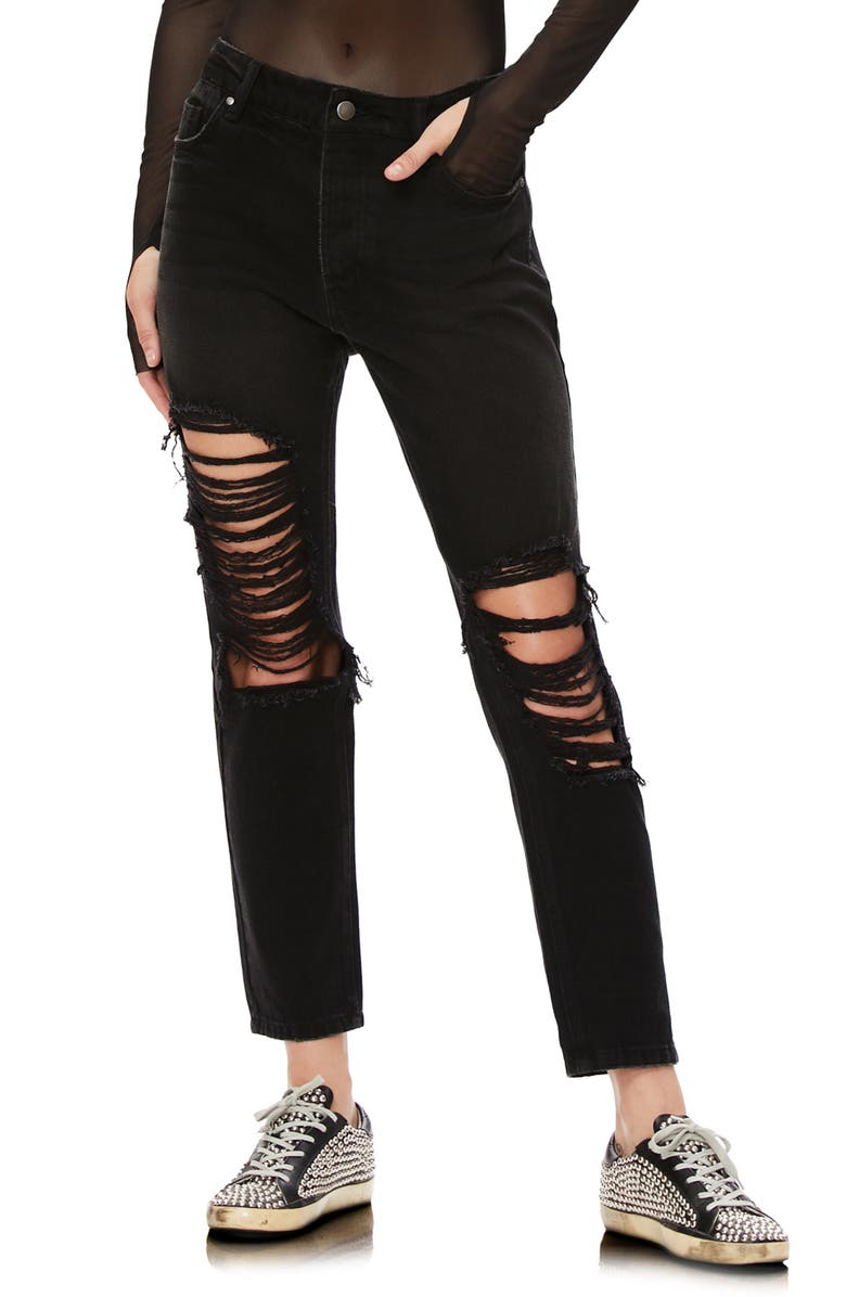 AFRM Cyrus Ripped High Waist Ankle Jeans, Main, color, BLACK WASH