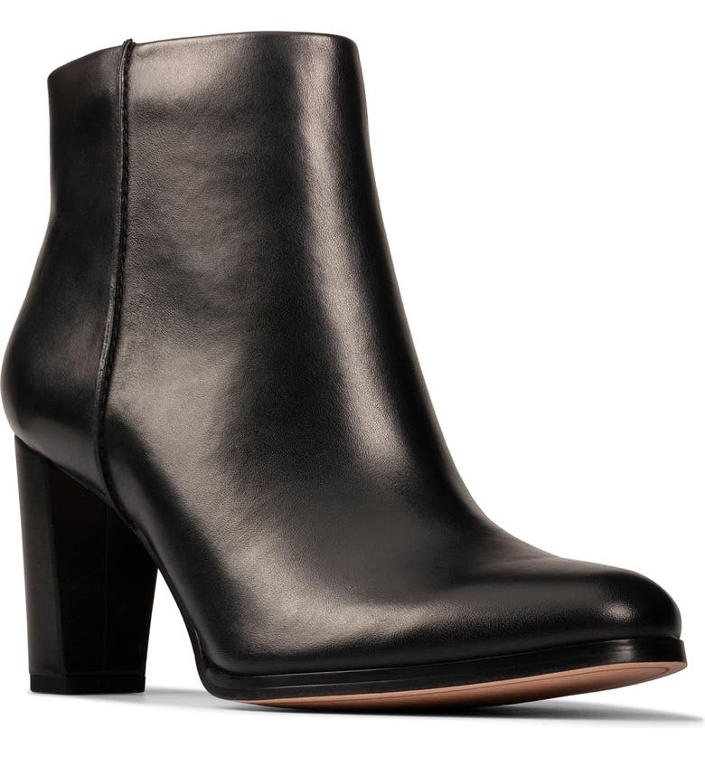 CLARKS<SUP>®</SUP> Kaylin Fern Bootie, Main, color, BLACK/ BLACK LEATHER